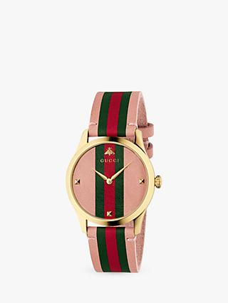 3118c2908a5 Gucci YA1264118 Unisex G-Timeless Leather Strap Watch