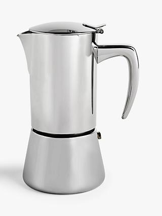 John Lewis & Partners Induction Stovetop Stainless Steel 6 Cup Espresso Coffee Maker, 300ml