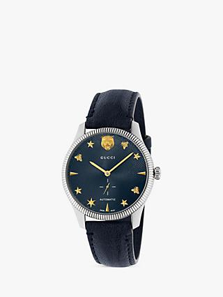 Gucci YA126347 Unisex G-Timeless Automatic Leather Strap Watch, Navy