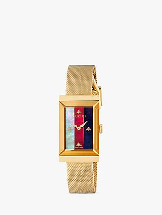 Gucci YA147410 Women's G-Frame Mesh Bracelet Strap Watch, Gold/Multi