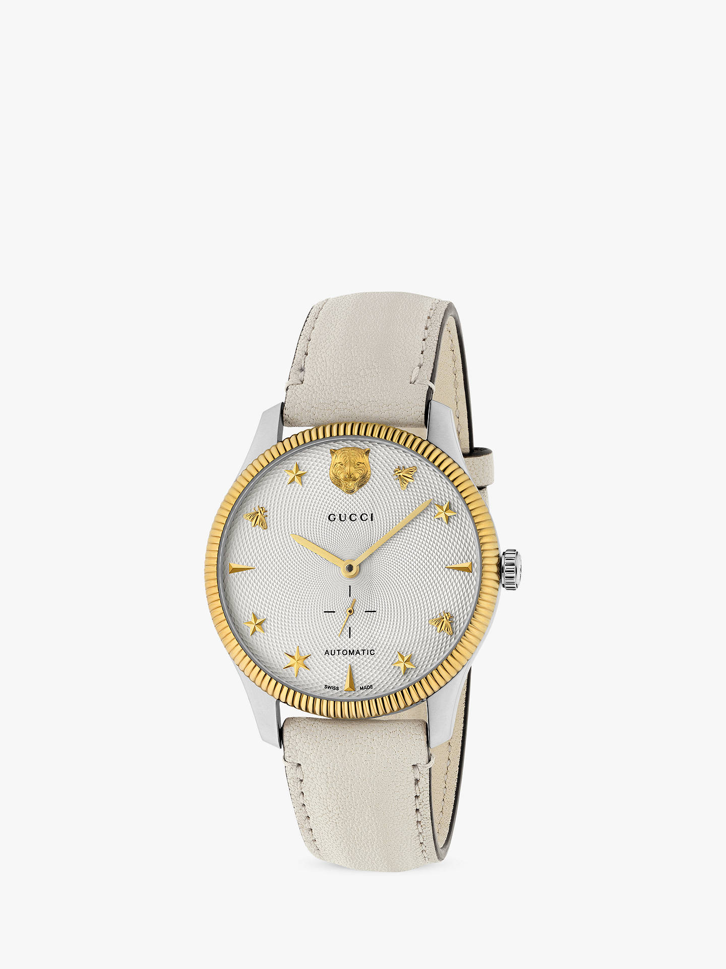 a639a8c6754 Gucci YA126348 Unisex G-Timeless Automatic Leather Strap Watch, White