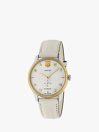 86d22c42c49 Gucci YA126348 Unisex G-Timeless Automatic Leather Strap Watch
