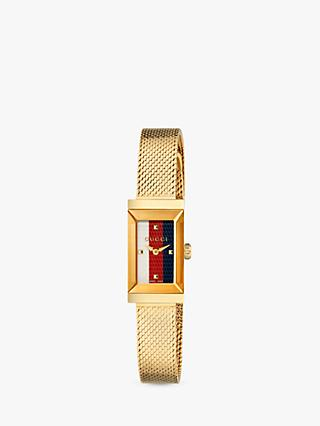 Gucci YA147511 Women's G-Frame Mesh Bracelet Strap Watch, Gold/Multi