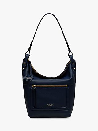 Radley Eltham Palace Leather Large Zip Top Hobo Bag Navy
