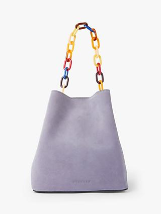 Neuville Supergirl Suede Bucket Bag, Lilac
