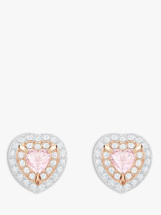 Swarovski Crystal Heart Stud Earrings, Rose Gold