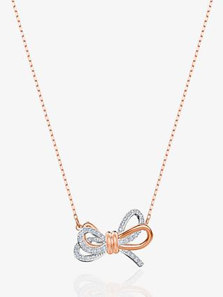 Swarovski Crystal Bow Pendant Necklace, Silver/Rose Gold