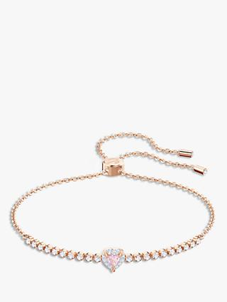Swarovski Crystal Heart Chain Bracelet, Rose Gold