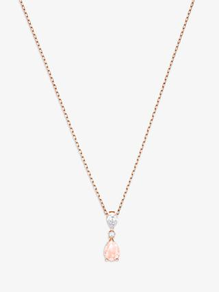 Swarovski Vintage Crystal Teardrop Pendant Necklace, Rose Gold/Pink