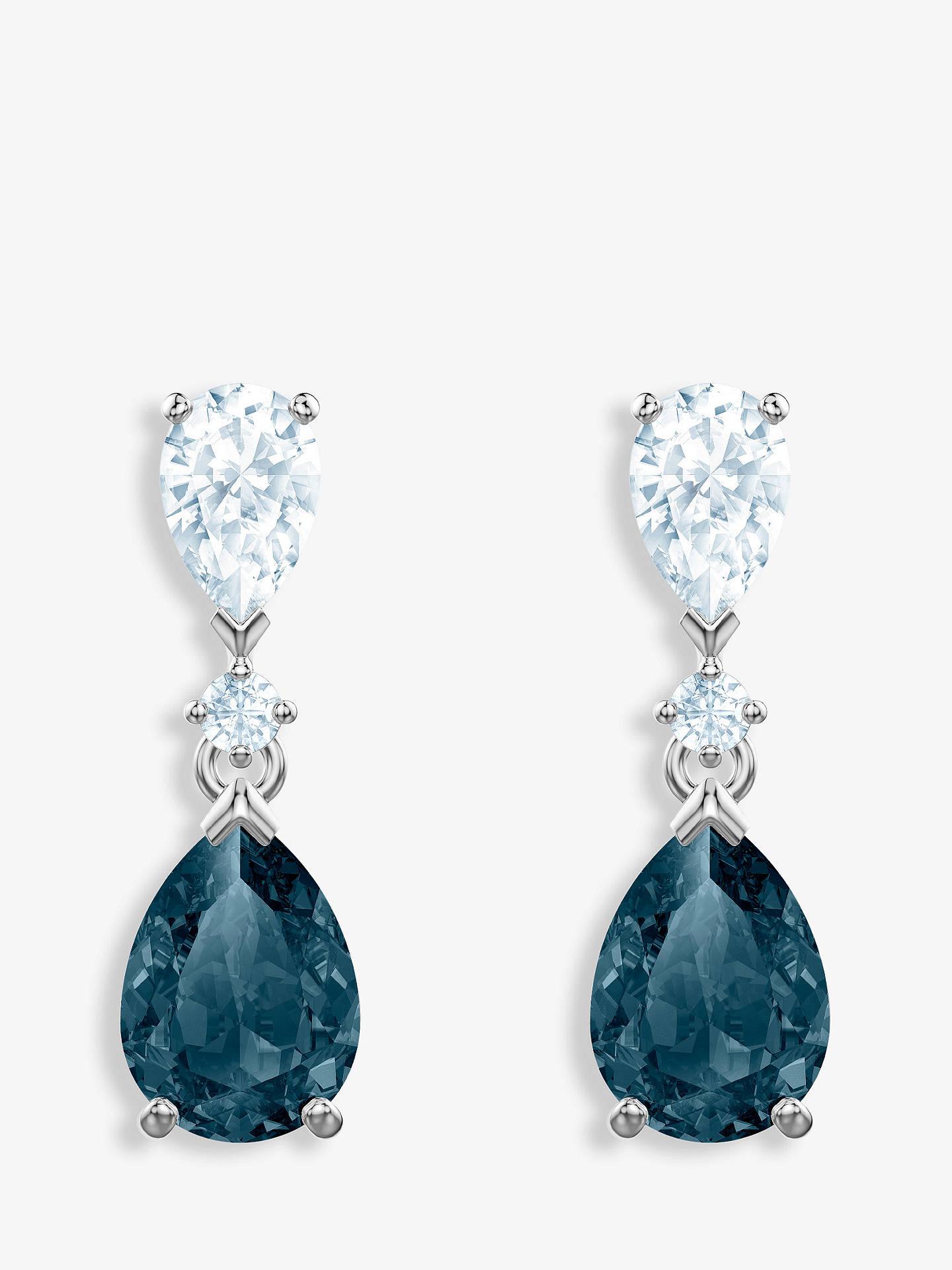 9318fa0de Buy Swarovski Vintage Crystal Teardrop Drop Earrings, Silver/Blue Online at  johnlewis.com
