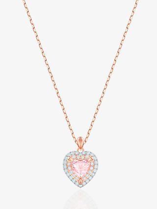 Swarovski Crystal Heart Pendant Necklace, Rose Gold