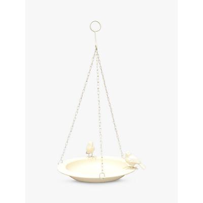 Ivyline Cast Iron Hanging Bird Bath, Cream