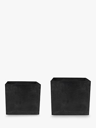 Ivyline Ella Cubed Planters, Set of 2, Black