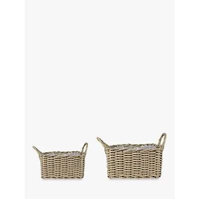 Ivyline Square Rattan Plant Pots, Natural, Set of 2