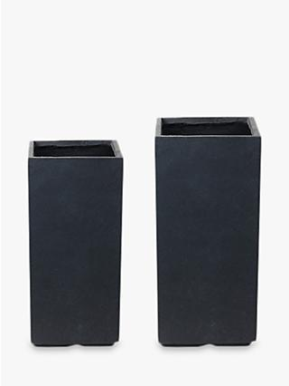 Ivyline Fibre Clay Vase Plant Pots, Set of 2, Anthracite