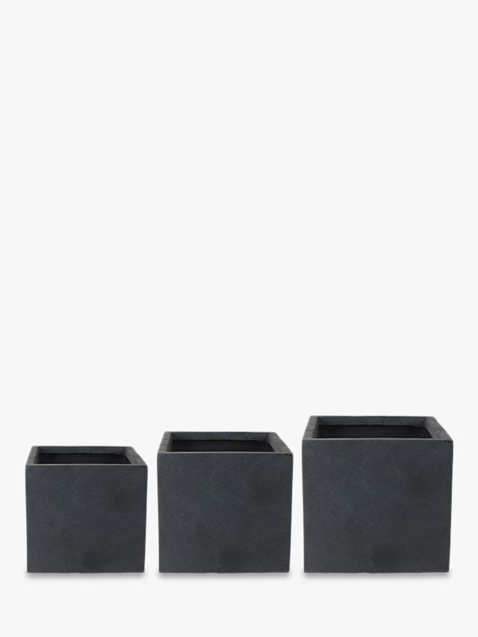 Ivyline Ivyline Fibre Clay Cube Plant Pots, Anthracite, Set of 3