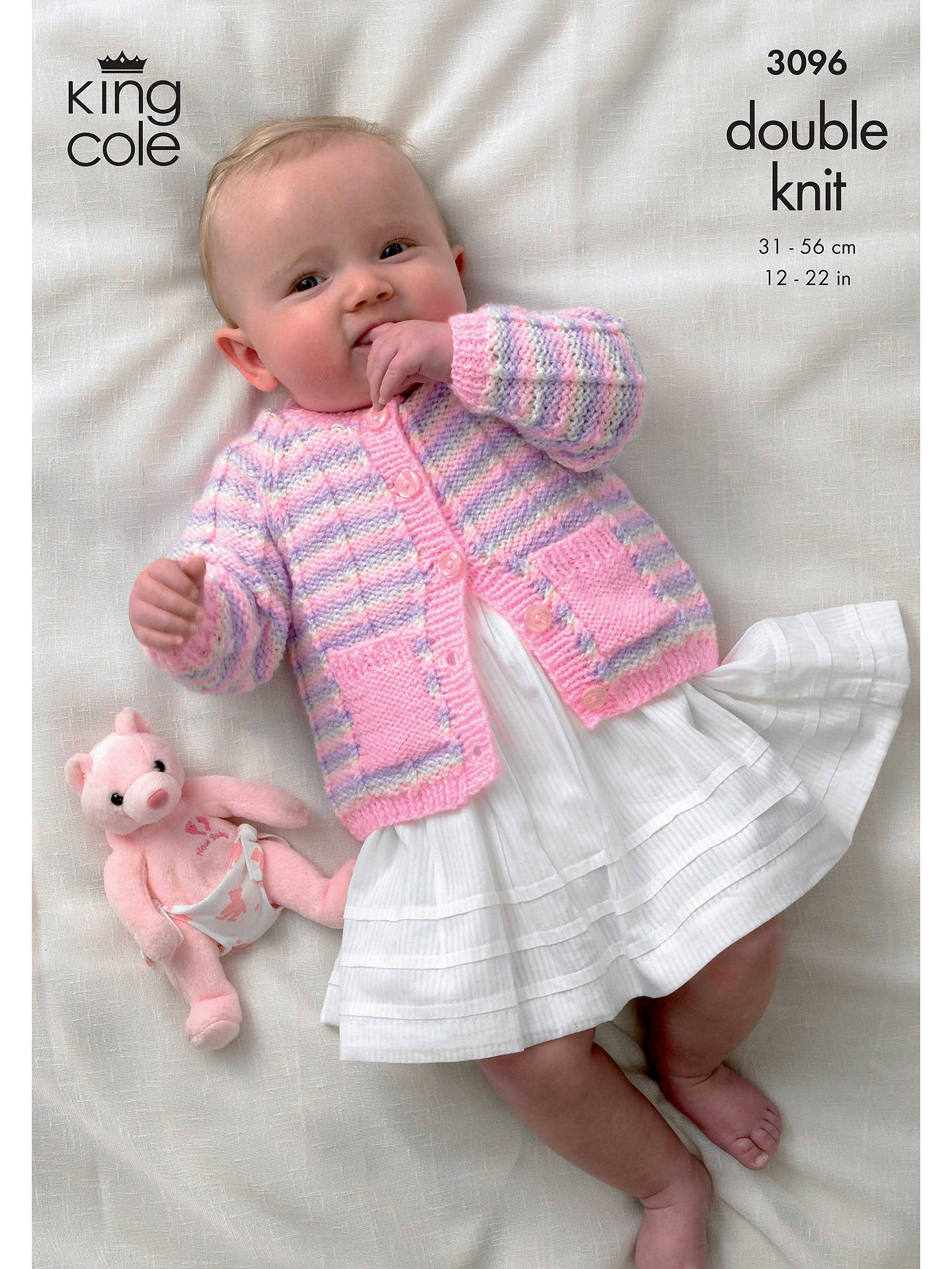 f85c38209 King Cole Big Value Baby DK Cardigan and Accessories Knitting Pattern, 3096