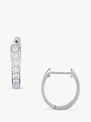 E W Adams 18ct White Gold Diamond Hoop Earrings