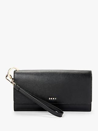 DKNY Bryant Leather Foldover Wristlet Clutch Purse, Black/Gold