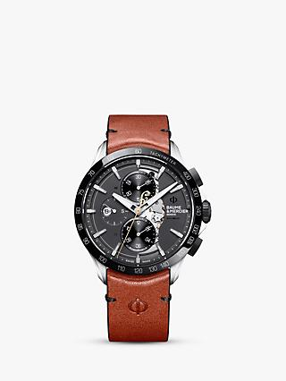 Baume et Mercier M0A10402 Men's Clifton Automatic Chronograph Day Date Leather Strap Watch, Black/Brown