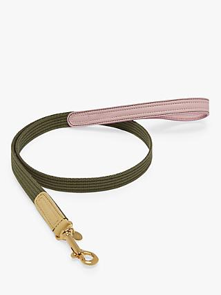 Mulberry Ruralist Leather Dog Lead, Khaki/Lilac/Lemon, Medium
