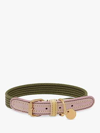 Mulberry Ruralist Leather Pet Collar, Khaki/Lilac/Lemon