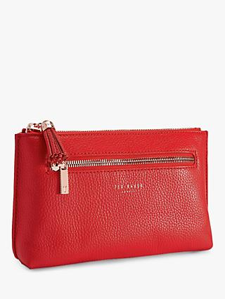 Ted Baker Lorenzi Leather Washbag, Red
