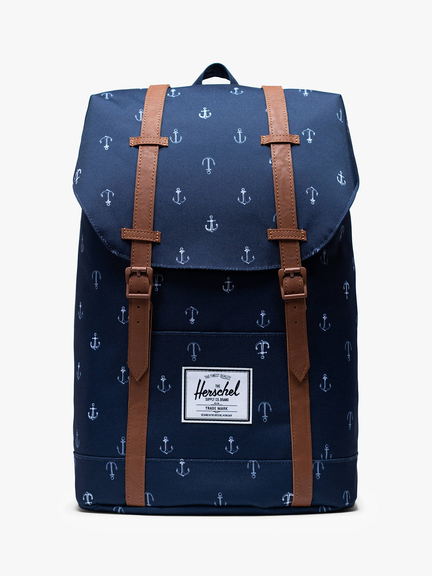 49e82e844 Buy Herschel Supply Co. Retreat Anchor Print Backpack, Peacoat/Anchor  Online at johnlewis ...