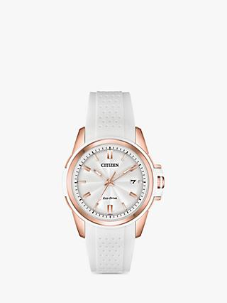Citizen FE6136-01A Women's Stiletto Eco-Drive Date Silicone Strap Watch, White