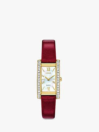 6b23cc9808afc Citizen Women's Silhouette Crystal Leather Strap Watch, Red/Mother of Pearl  EX1472-05D