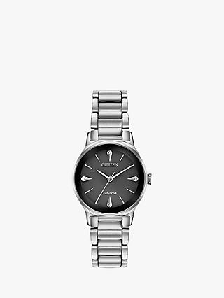 Citizen EM0730-57E Women's Axiom Eco-Drive Diamond Bracelet Strap Watch, Silver/Black