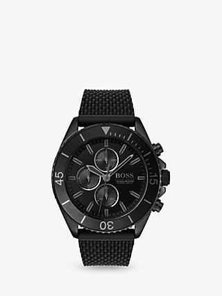 HUGO BOSS 1513699 Men's Ocean Edition Chronograph Silicone Strap Watch, Black