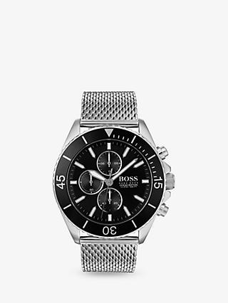 e8edc6ed3d50 HUGO BOSS 1513701 Men's Ocean Edition Chronograph Mesh Bracelet Strap Watch,  Silver/Black