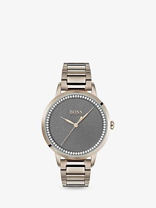 HUGO BOSS 1502463 Women's Twilight Swarovski Crystal Bracelet Strap Watch, Gold/Grey