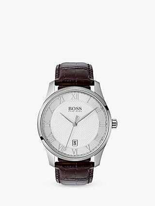 on sale e8d9a 3481d HUGO BOSS Mens Master Date Leather Strap Watch