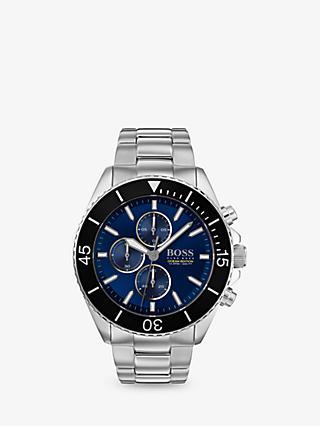 new concept dd766 e6e2a HUGO BOSS 1513704 Mens Ocean Edition Chronograph Bracelet Strap Watch,  SilverBlue