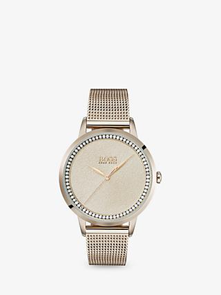HUGO BOSS 1502464 Women's Twilight Swarovski Crystal Mesh Bracelet Strap Watch, Gold