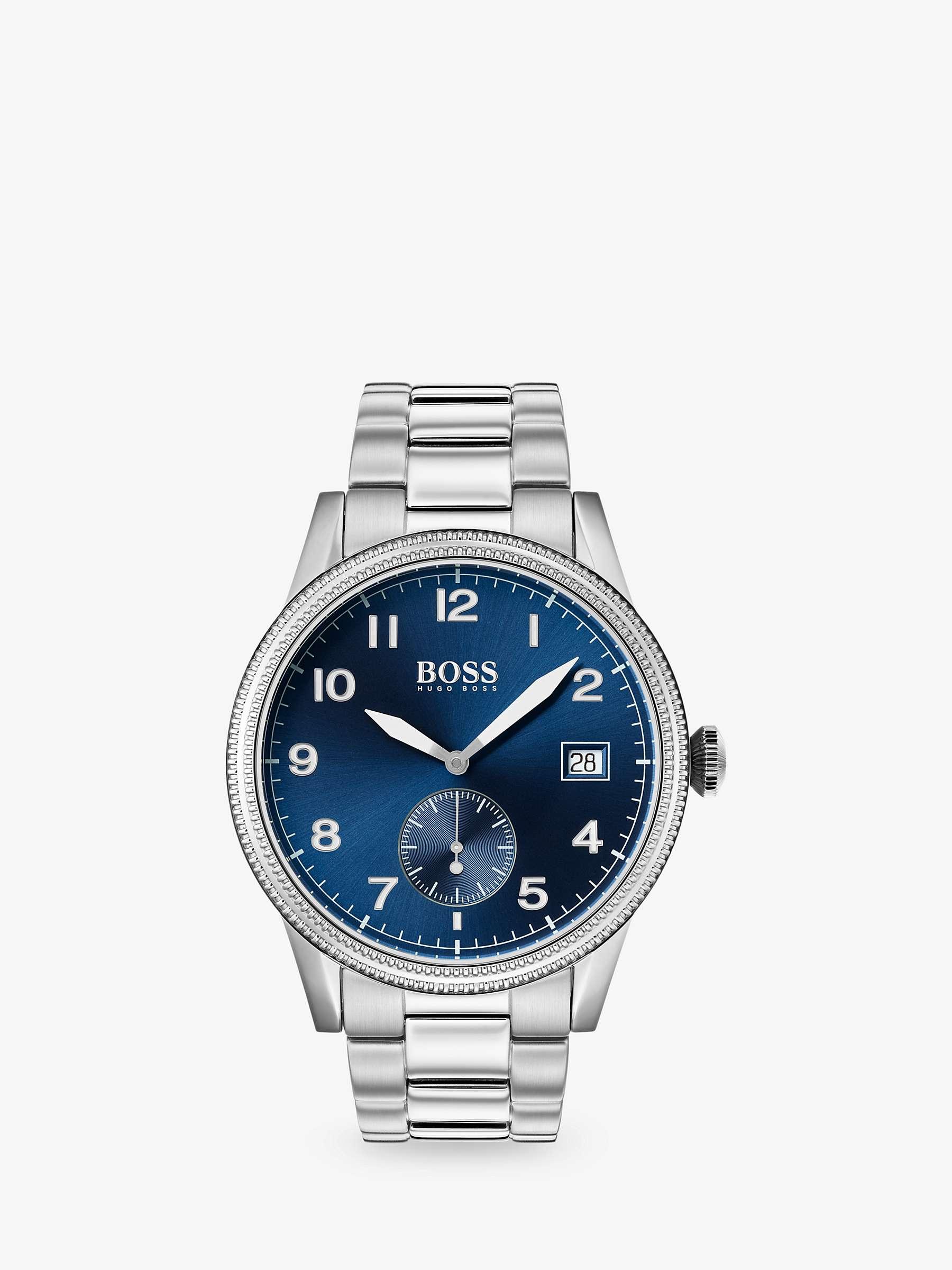 Hugo Boss 1513707 Men's Legacy Date Bracelet Strap Watch, Silver/Blue by John Lewis