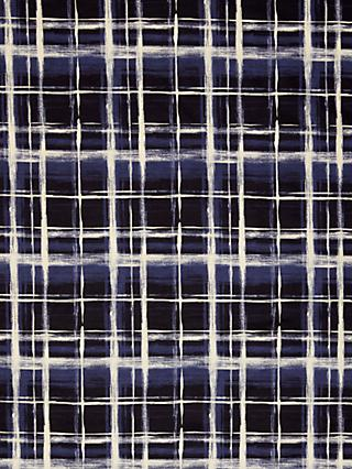 Kokka Cross Hatch Print Fabric, Black/Blue