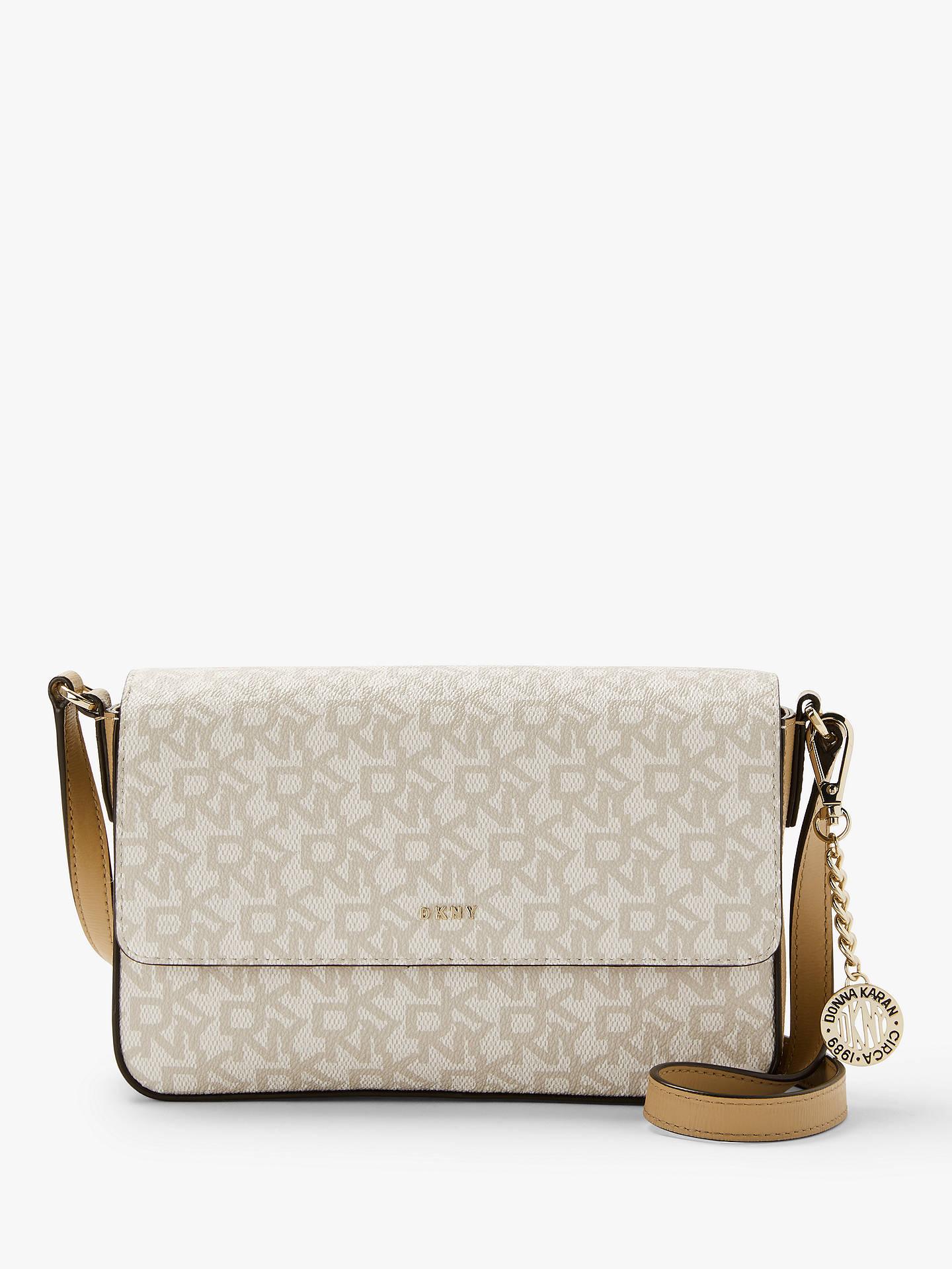 84de34bb3 Buy DKNY Bryant Logo Print Medium Flap Cross Body Bag, Hemp/Latte Online at  ...