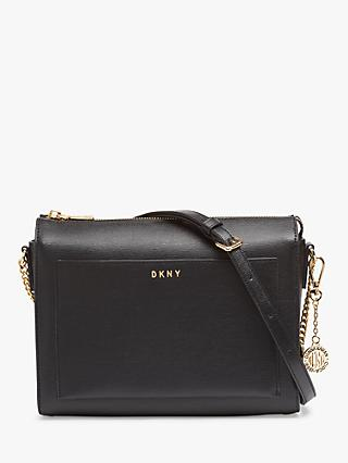DKNY Bryant Sutton Medium Leather Zip Top Cross Body Bag, Black/Gold