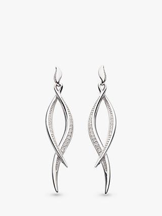 Kit Heath Double Wave Cubic Zirconia Drop Earrings, Silver