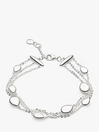 Kit Heath Triple Row Pebble Chain Bracelet, Silver
