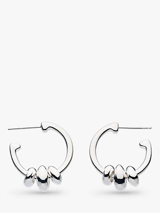 Kit Heath Triple Pebble Hoop Earrings, Silver