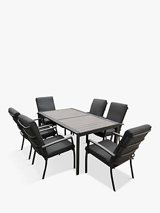 LG Outdoor Milan 6-Seat Extendable Garden Table and Chairs Dining Set, Grey