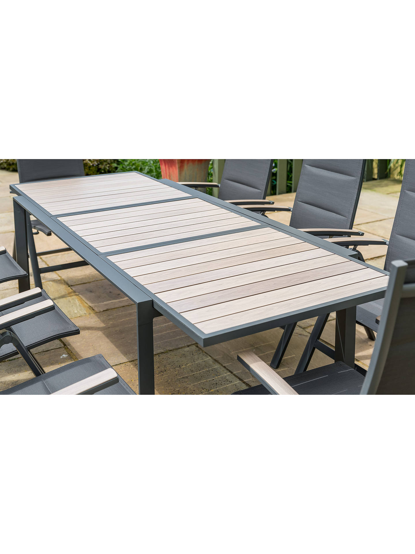Lg Outdoor Milan 6 Seat Extendable Garden Table And Chairs Dining Set Grey