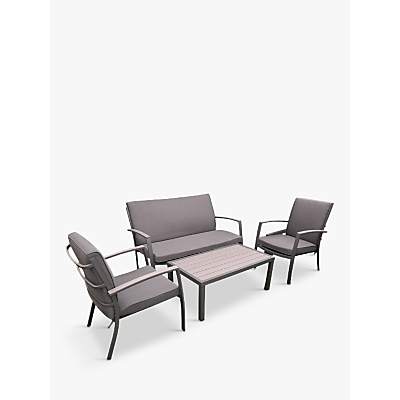 LG Outdoor Milan 4-Seat Garden Table and Chairs Lounging Set, Grey