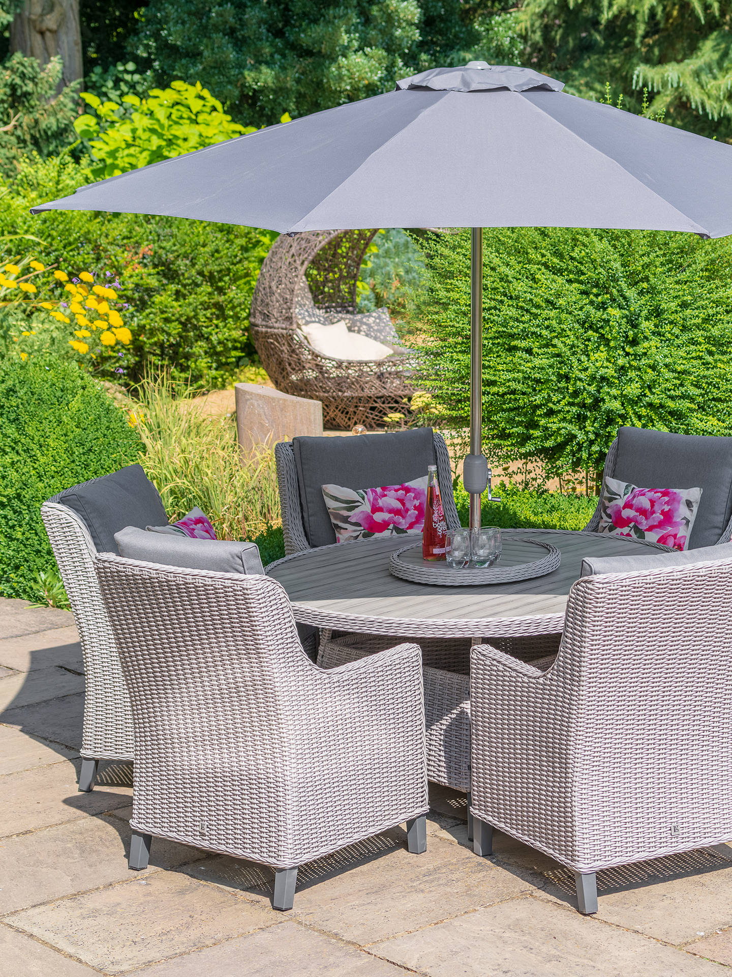 LG Outdoor Oslo 7-Seat Round Garden Table and Chairs Dining Set