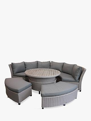 LG Outdoor Oslo 8-Seat Modular Curved Garden Table and Chairs Lounging Set, Grey