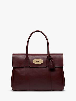 80da02df6 Mulberry Bayswater Heritage Coloured Veg Tanned Leather Handbag, Oxblood